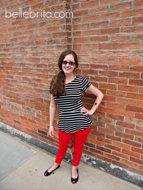 striped peplum top red skinny jeans