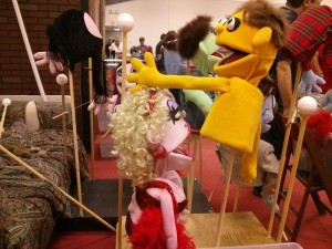 Lucy the Slut and Princeton puppets backstage
