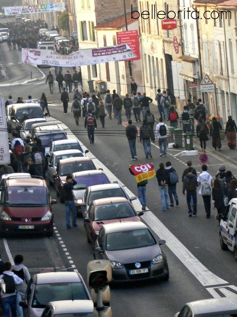 French students on strike October 2011