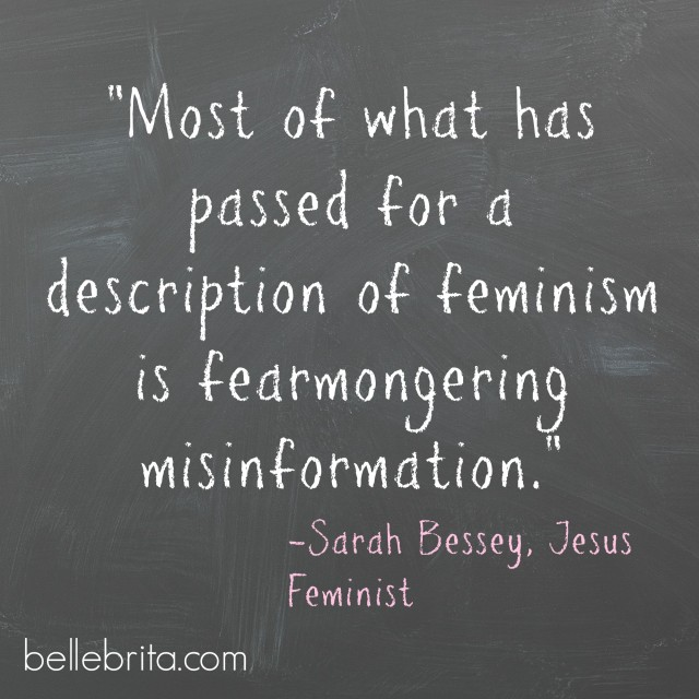 """Most of what has passed for a description of feminism is fearmongering misinformation."" -Sarah Bessey, Jesus Feminist"