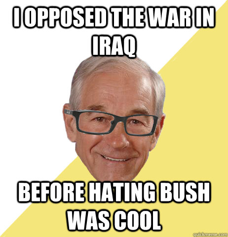 Libertarian Ron Paul was the sole Republican who voted against the Iraqi invasion