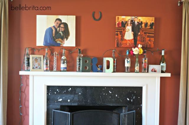 DIY wine bottle decor for the mantle #DIY #decor #home