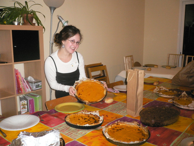 Without access to pumpkin, my friends and I made squash pies for Thanksgiving in France