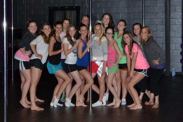 Pole dancing as a bachelorette weekend activity!