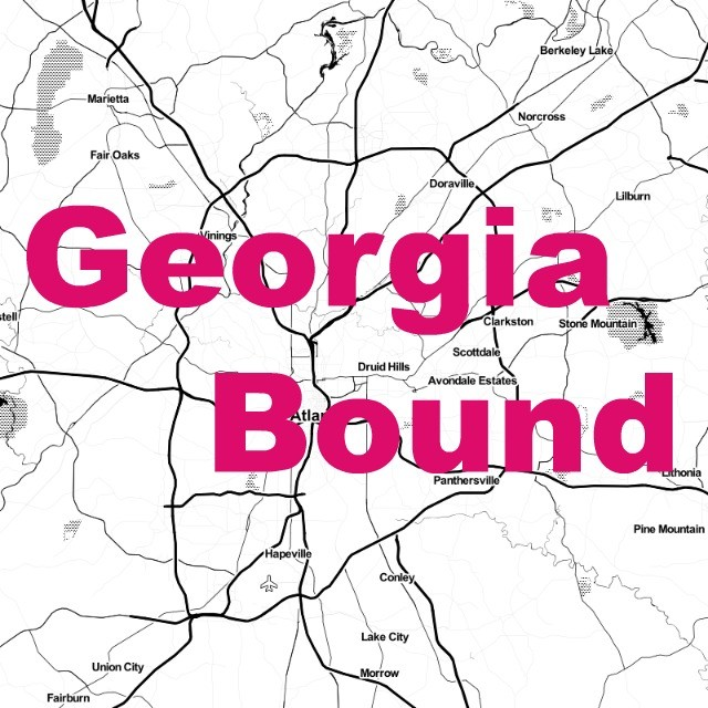 "Greater Atlanta area map with text overlaid ""Georgia Bound"""