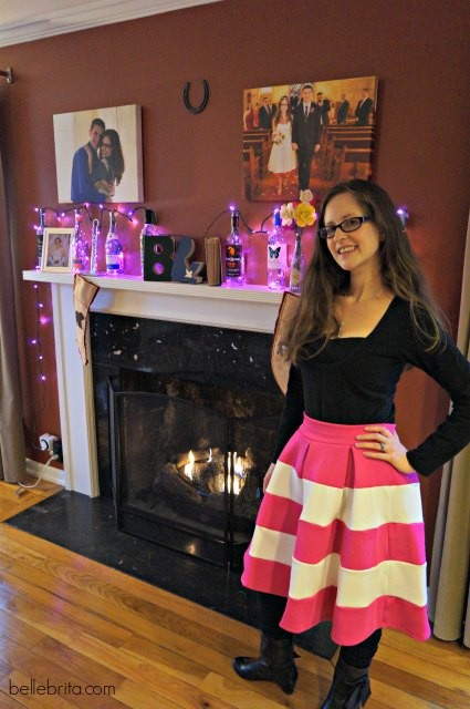 I love dressing up for date night! This pink and white skirt is one of my favorites. #style