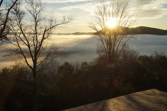 Late sunrise during our romantic anniversary weekend at Lucille's Mountaintop Inn & Spa
