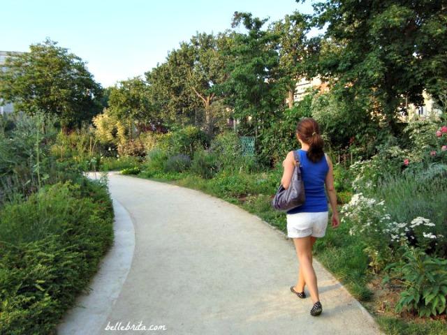 Enjoying a public garden near Canal Saint Martin