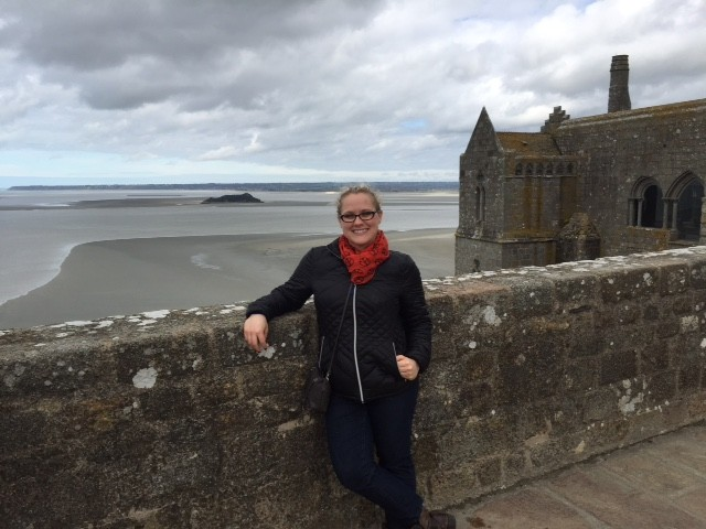 American francophile in Mont St. Michel in France