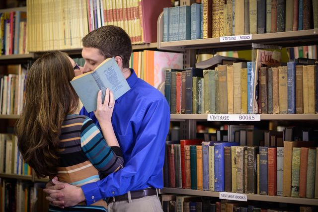I loved taking engagement photos in a secondhand bookstore!
