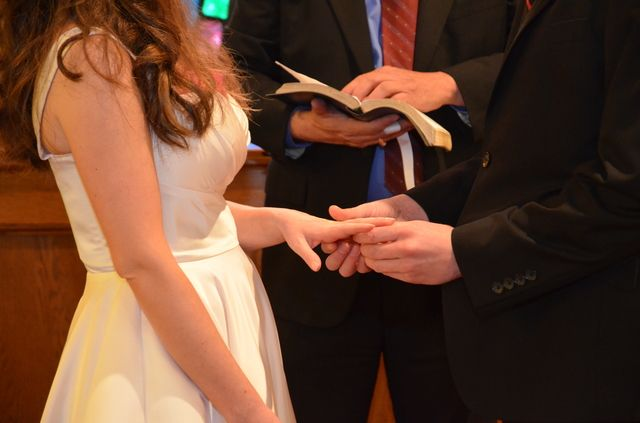 Exchanging rings and vows on our wedding day