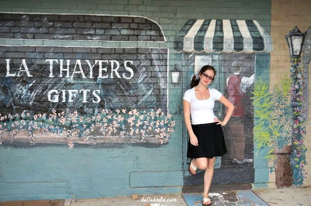 Greenwood, SC has beautifully renovated and restored the uptown area, like with this brick art behind local boutique Thayer's Gifts.
