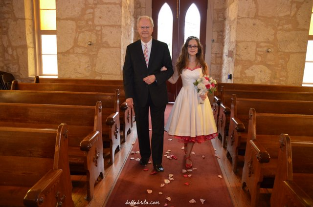 My dad walked me down the aisle at my feminist wedding, just like Dan's mom walked him down the aisle