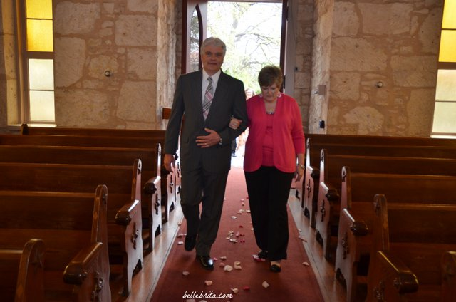 My father-in-law walked my mother down the aisle at our wedding in the Little Church of La Villita