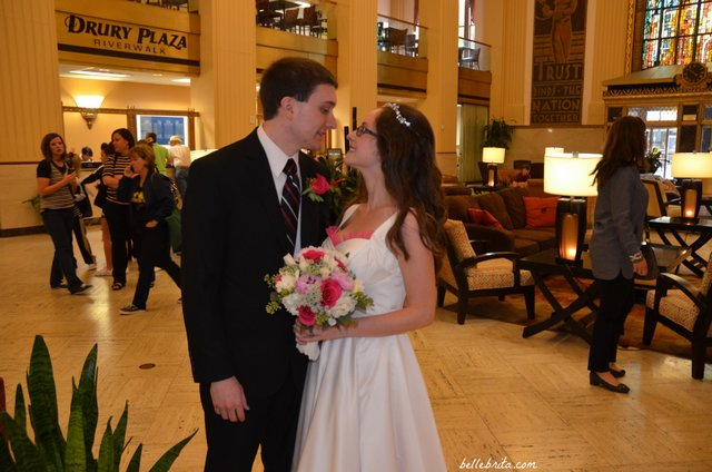 Dan & I shared our first look in the hotel lobby at the San Antonio Drury