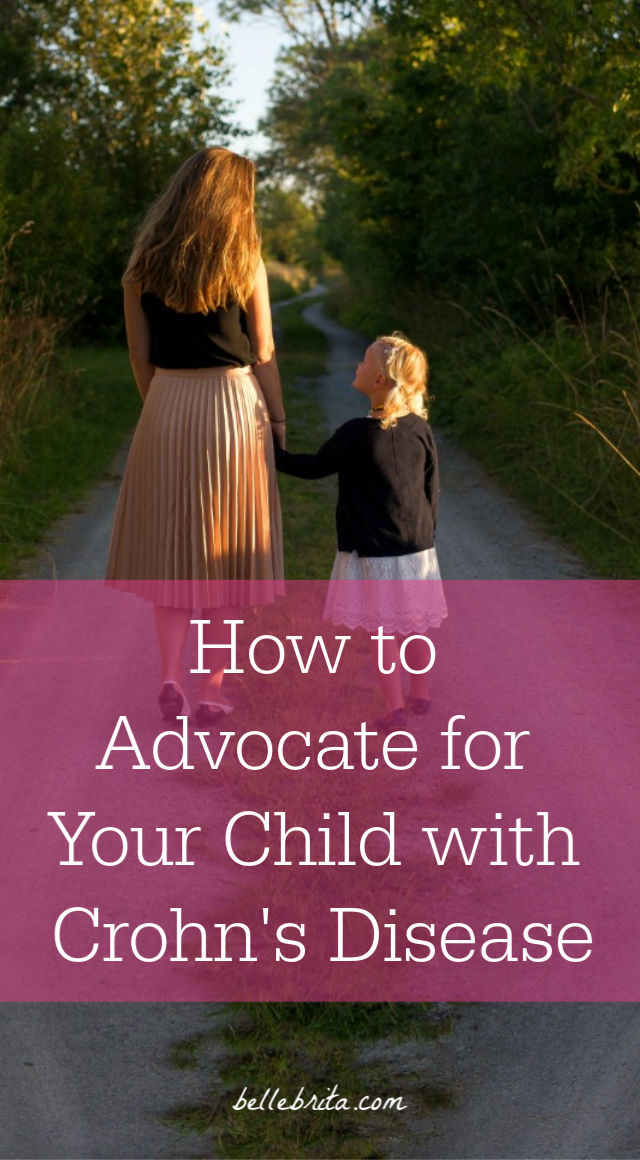 "Woman with child. Text overlay reads: ""How to Advocate for Your Child with Crohn's Disease"""