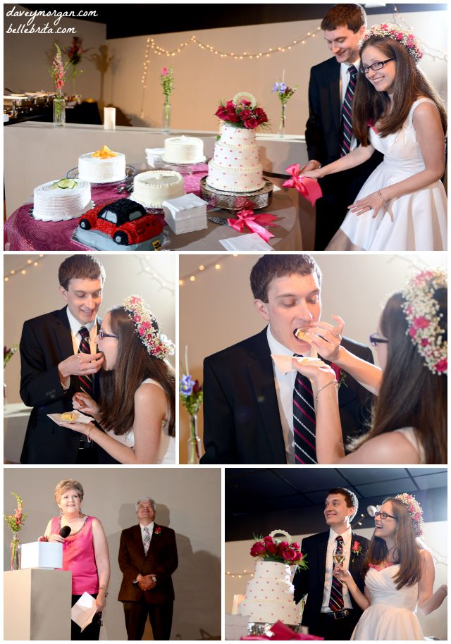 Cutting the cake and sharing wedding toasts are time-honored wedding traditions. | Belle Brita