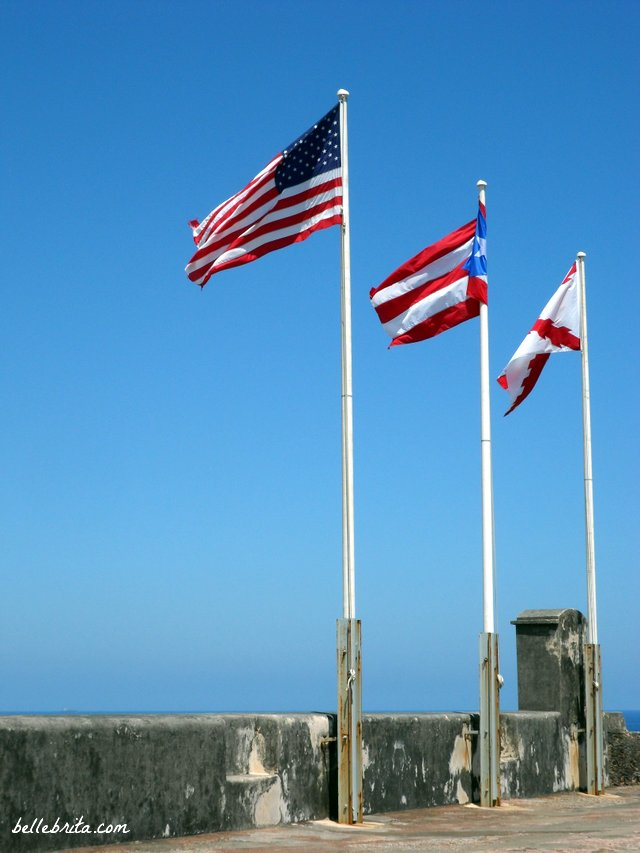 Flags on Fort San Cristobal in Puerto Rico