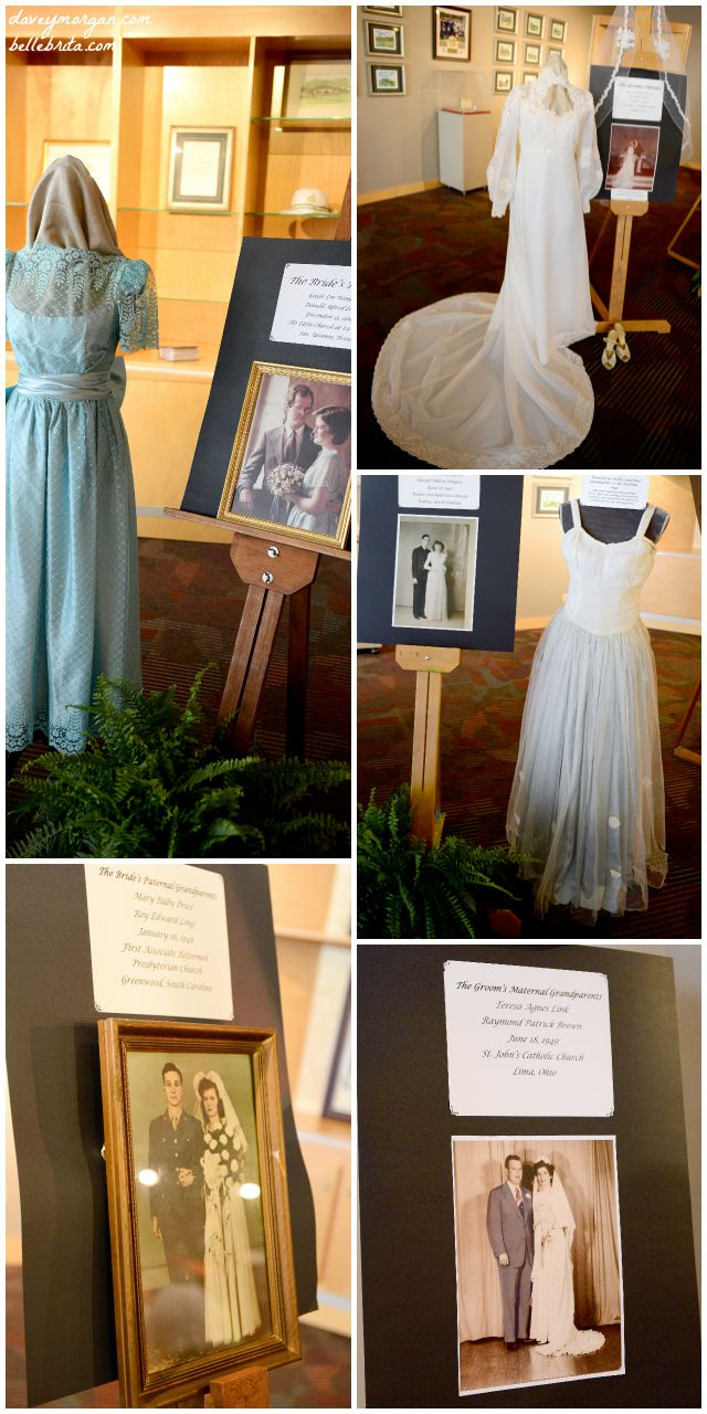 "My husband and I held a wedding reception at The Museum in Greenwood, SC. Our mothers put together a ""museum exhibit"" featuring our family wedding dresses and wedding portraits. 