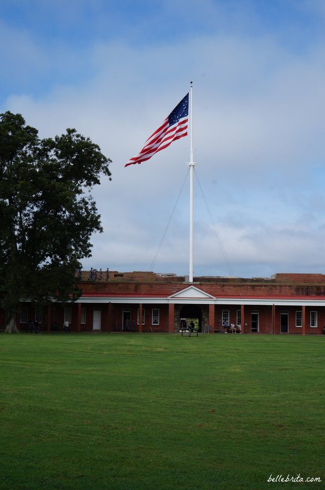 American flag waving at Fort Pulaski in Savannah, GA | Belle Brita