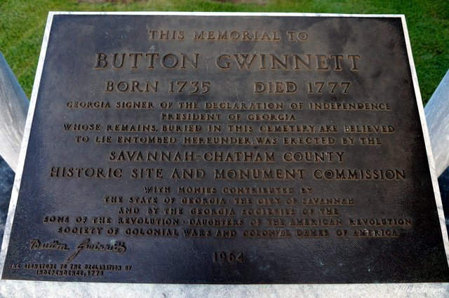 Button Gwinnett was a signer of the Declaration of Independence. His gravestone is in Savannah, GA. | Belle Brita