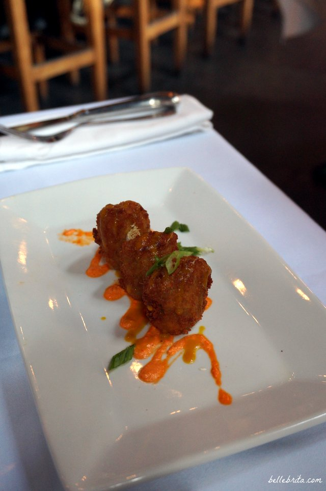 Goat Cheese Stuffed Artichoke Fritters with Red Pepper & Honey Mustard Sauces | The Olde Pink House | Belle Brita