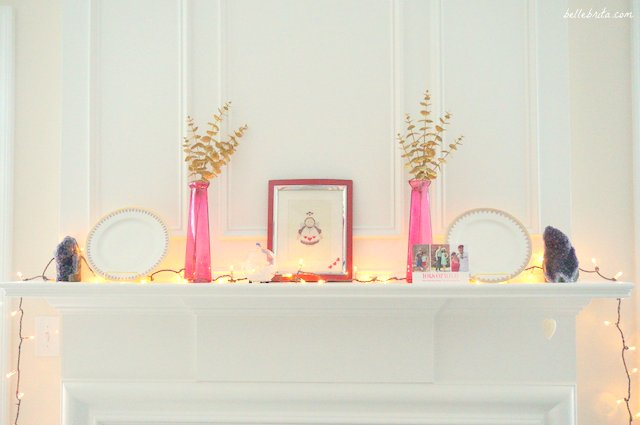 Decorating my mantle for Valentine's Day was so easy! I even reused Christmas decorations. | Belle Brita