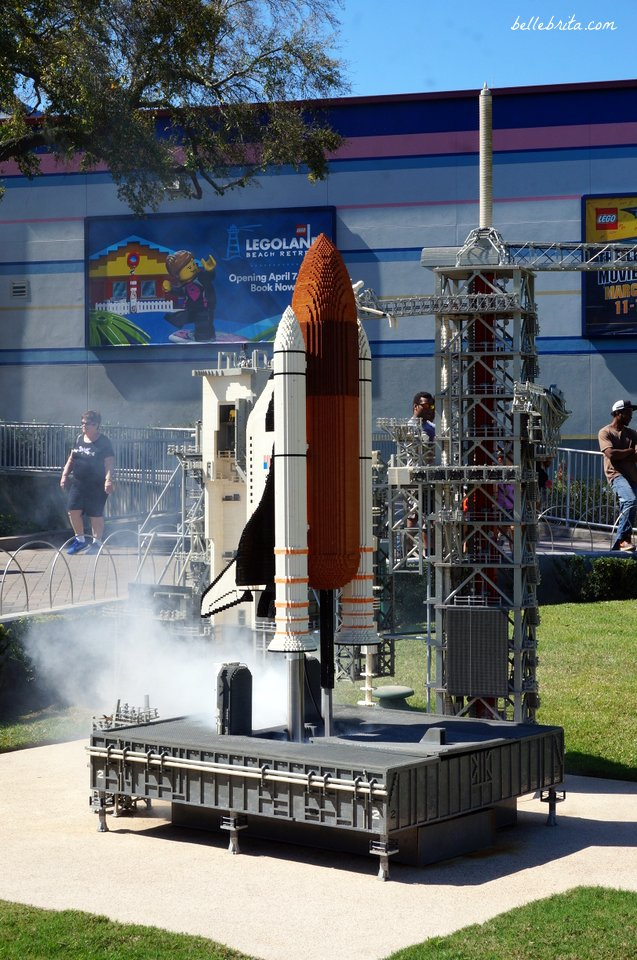 A rocket launches at LEGOLAND's scale model of the Kennedy Space Center. | Belle Brita