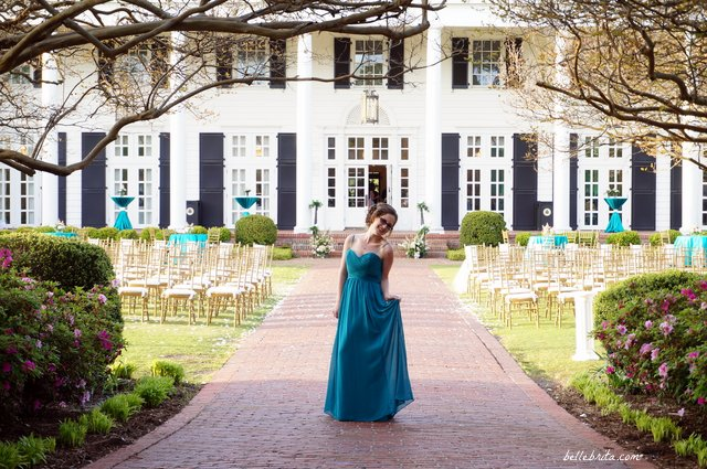 Modeling my bridesmaid's dress at Ocean Forest Country Club after my best friend's wedding | Belle Brita