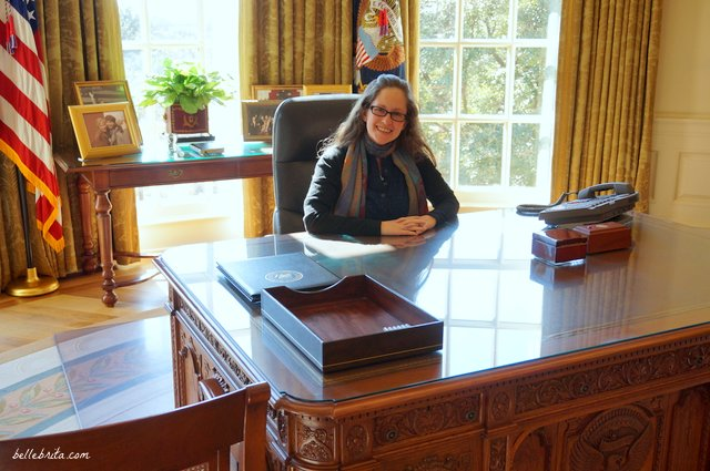 Playing Madam President at the George W. Bush Presidential Library in the replica Oval Office! | Belle Brita