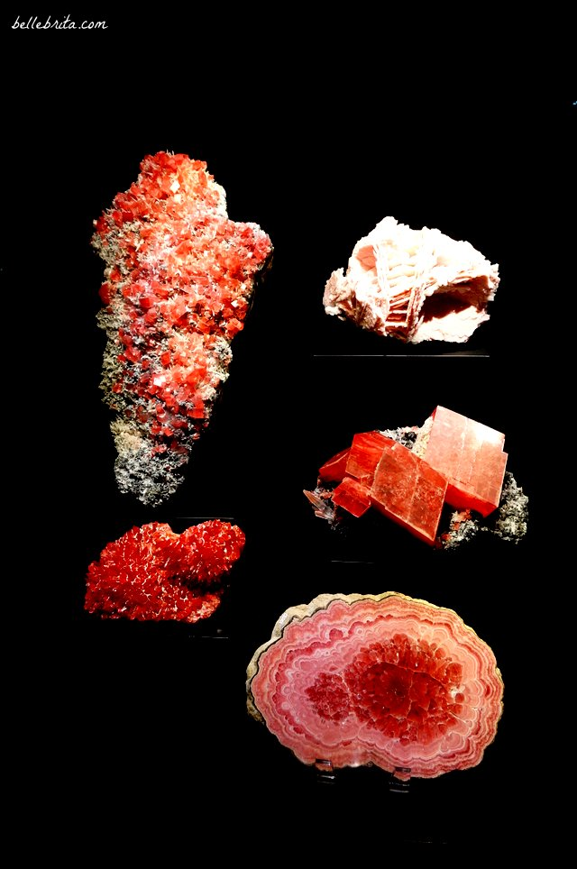 I love the mineral and gemstone collections at science museums. These pink specimens are part of the Perot Museum in Dallas, Texas. | Belle Brita
