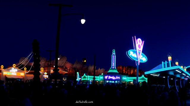 Visiting Cars Land at night is an absolute must to see all the neon lights in their full glory! | Belle Brita
