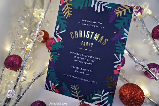 Basic Invite offers gold, silver, and rose gold foil detailing on their custom holiday party invitations. Read my full review of Basic Invite!