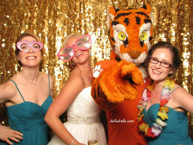 When your best friend gets married, you put on a pretty dress and hang out with the Clemson Tiger. | Belle Brita