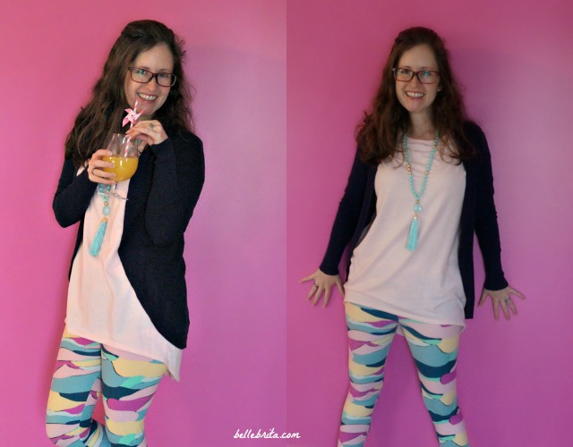 For a colorful and casual winter date night outfit, combine fun LuLaRoe clothing with pieces you already own. This Target cardigan easily layers with my peach Irma and multi-colored leggings. | Belle Brita