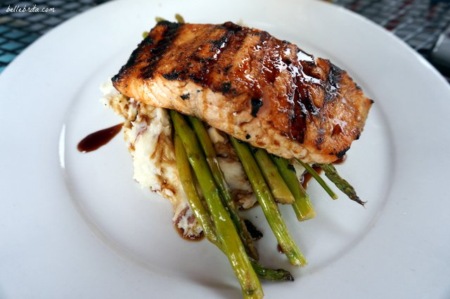 Glazed salmon with asparagus and mashed potatoes at Sprig Restaurant. | Belle Brita