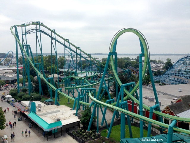 Sky view of Raptor, one of Cedar Point's top roller coasters. Which Cedar Point roller coaster is the absolute best? Check out this list! | Belle Brita