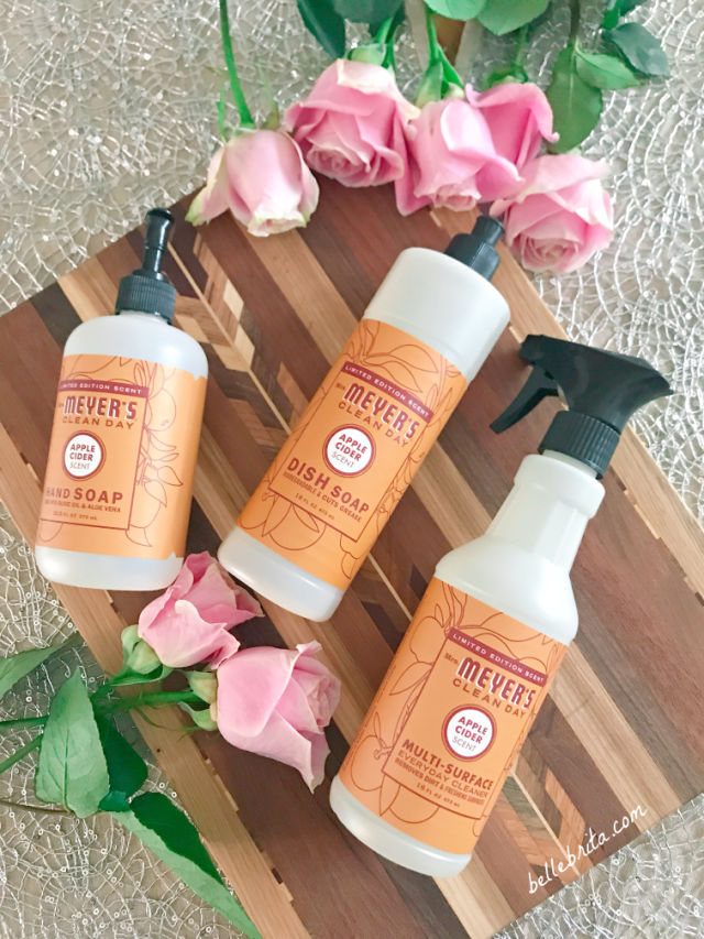 I love using natural cleaning products in my home, like hand soap, dish soap, and surface spray from Mrs. Meyer's. | Belle Brita
