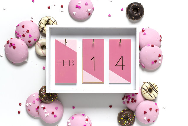 February 14, Valentine's Day, pink cookies, frosted donuts flat lay
