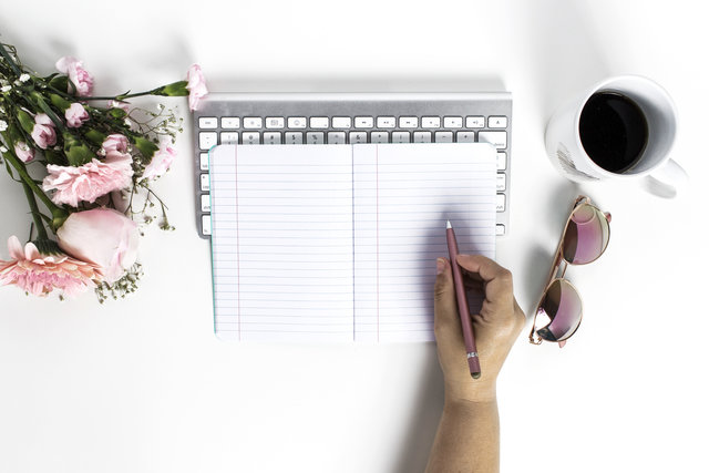 Pink Flowers, Notebook, Hand, Sunglasses, Coffee Mug flat lay