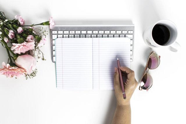 Pink Flowers, Notebook, Hand, Sunglasses, Coffee Mug flat lay