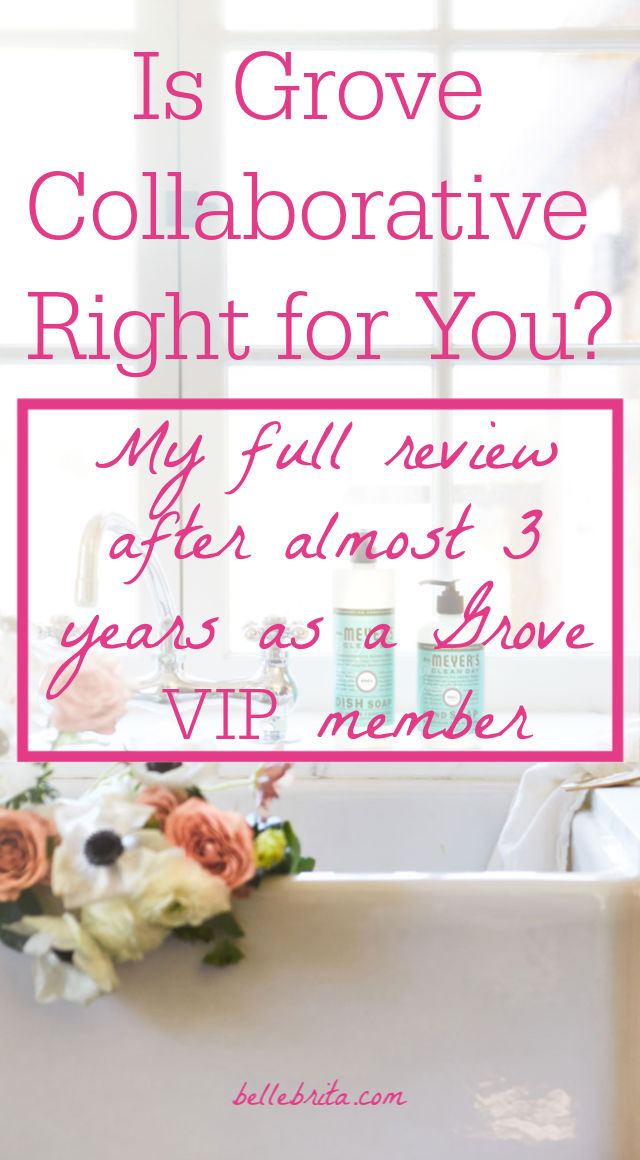 "Bouquet kitchen sink with text overlay - ""Is Grove Collaborative Right for you? My full review after almost 3 years as a Grove VIP member"""