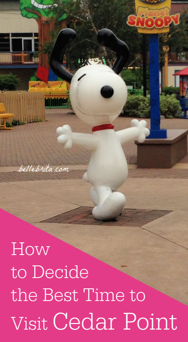 "Snoopy, text overlay reads, ""How to Decide the Best Time to Visit Cedar Point"""