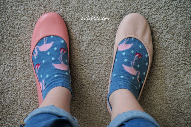 Pink ballet flats, left is Oka-B, right is Tieks