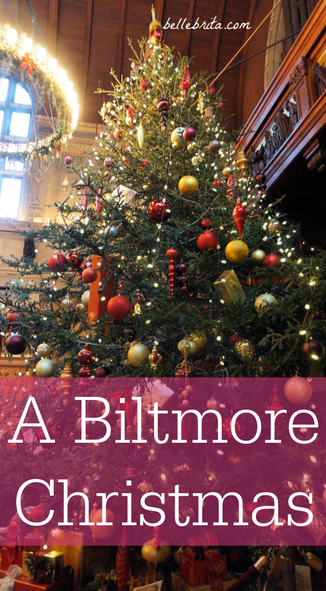 Large Christmas tree, text overlay reads: A Biltmore Christmas
