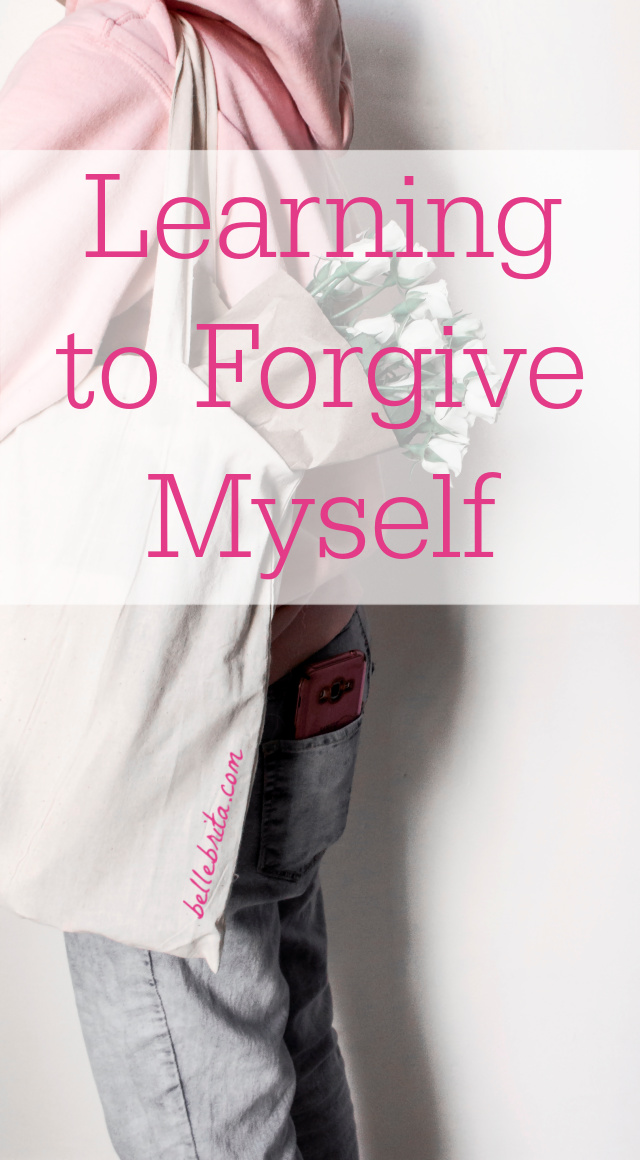 "Woman holding flowers. Text overlay reads: ""Learning to Forgive Myself"""