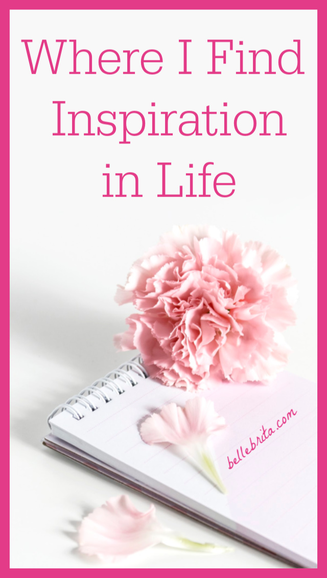 "Pink flower, white notebook. Text overlay reads: ""Where I Find Inspiration in Life"""