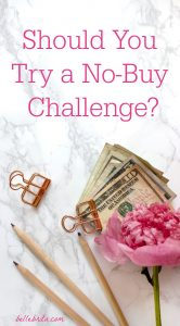 "Flat lay with a pink flower and a stack of cash. Text overlay reads: ""Should You Try a No-Buy Challenge?"""