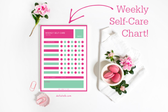 "Pink and white flat-lay with a mock-up of a self-care tracking chart. Text overlay reads: ""Weekly Self-Care Chart!"""