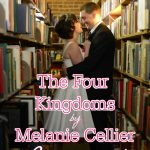 "Image of bridal couple in a bookstore. Text overlay reads: ""The Four Kingdoms by Melanie Cellier Reviewed"""